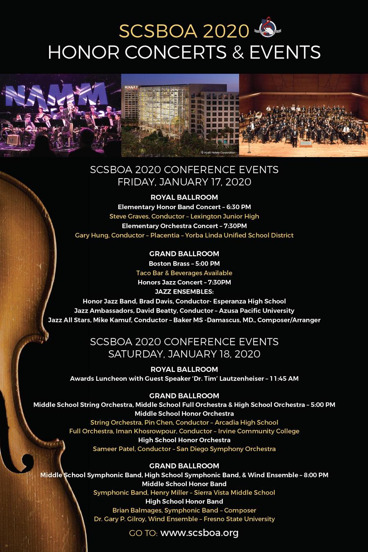 SCSBOA 2020 Honor Concerts & Events