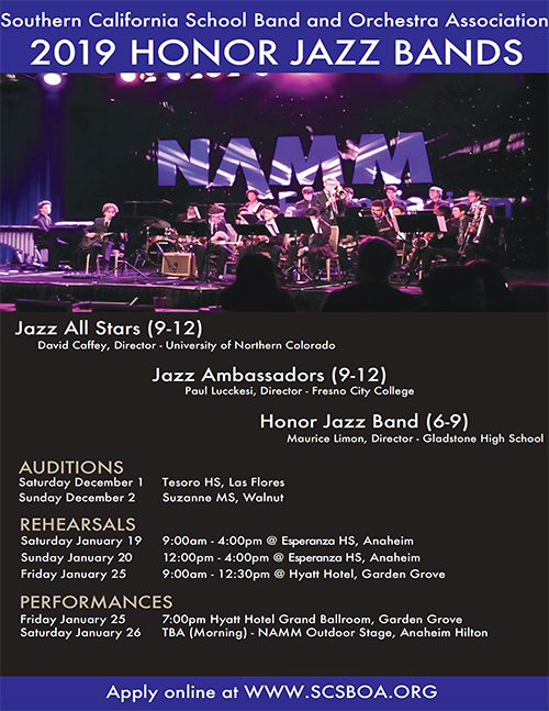 SCSBOA Jazz Honor Groups 2019